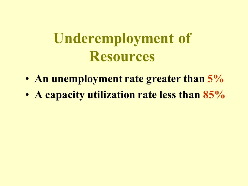 Underemployment of Resources