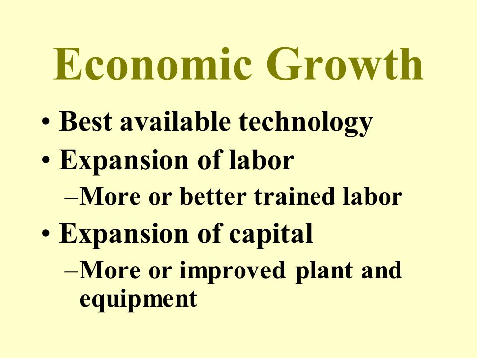 Economic Growth Best available technology Expansion of labor