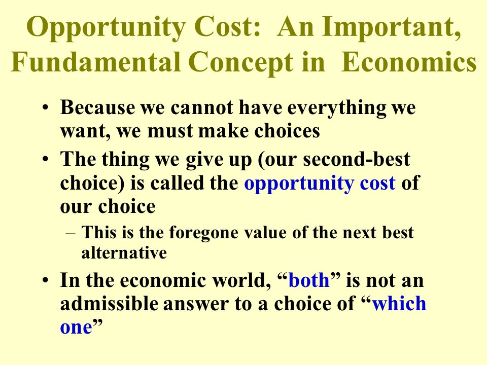 Opportunity Cost: An Important, Fundamental Concept in Economics