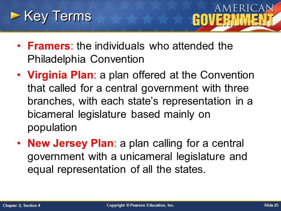 Key Terms Framers: the individuals who attended the Philadelphia Convention.
