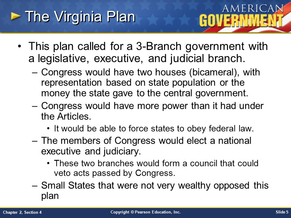 The Virginia Plan This plan called for a 3-Branch government with a legislative, executive, and judicial branch.