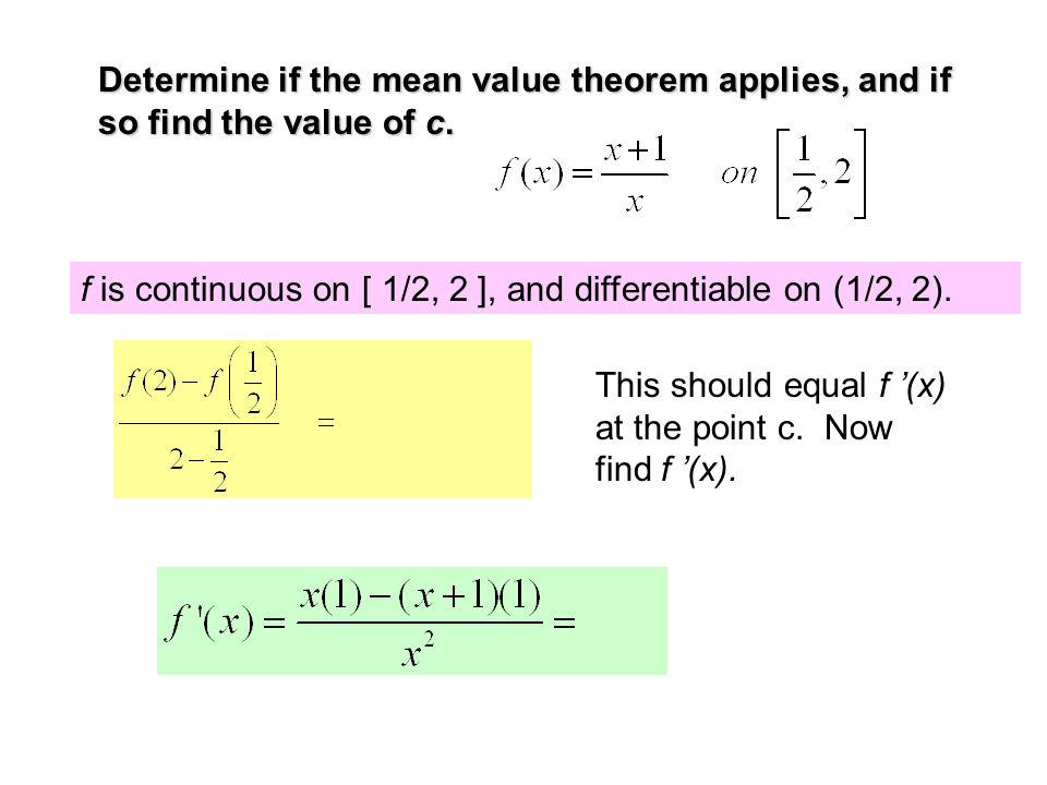 Chapter 3 Section 32 Rolle's Theorem And The Mean Value. Determine If The Mean Value Theorem Applies And So Find Of C. Worksheet. Worksheet On Mean Value Theorem At Clickcart.co