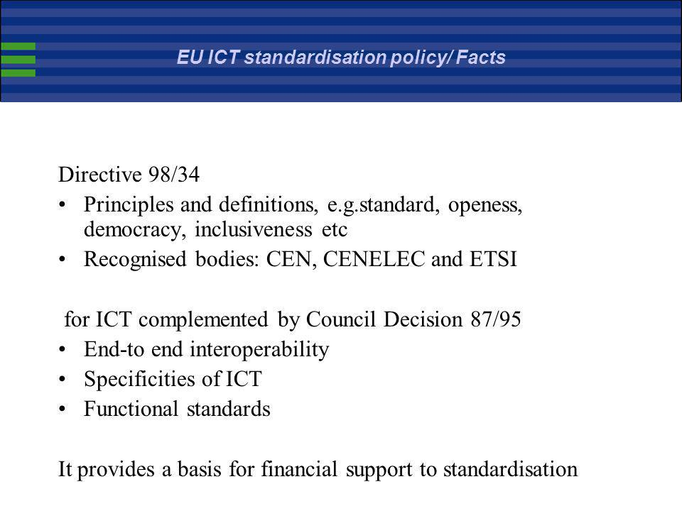 EU ICT standardisation policy/ Facts