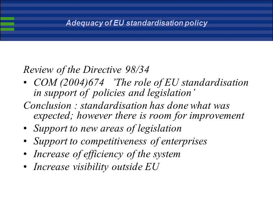 Adequacy of EU standardisation policy
