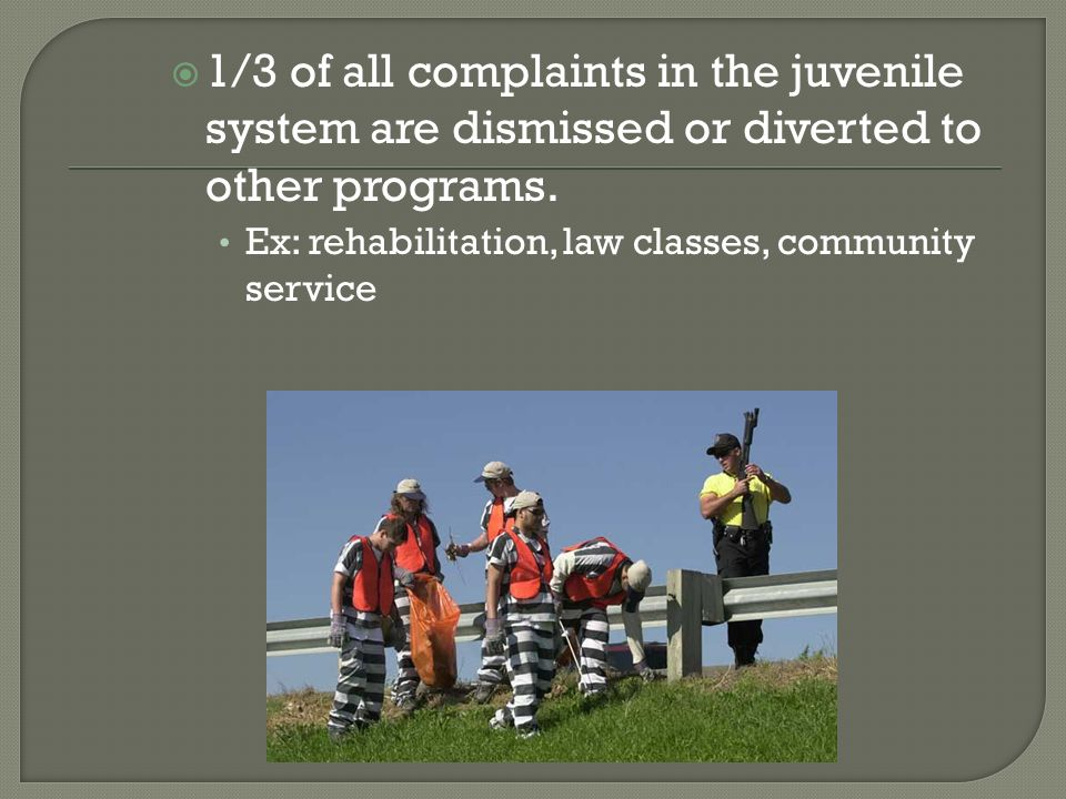 1/3 of all complaints in the juvenile system are dismissed or diverted to other programs.