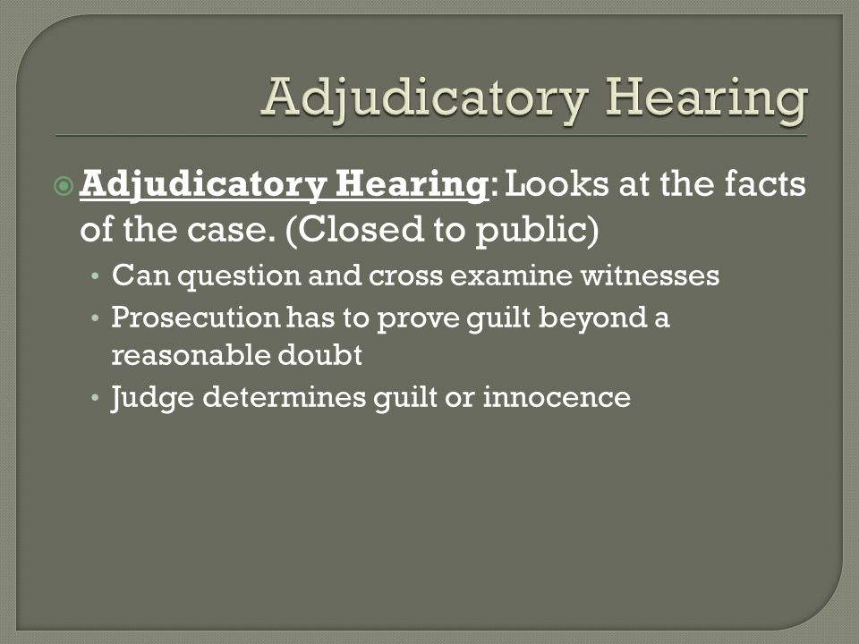 Adjudicatory Hearing Adjudicatory Hearing: Looks at the facts of the case. (Closed to public) Can question and cross examine witnesses.