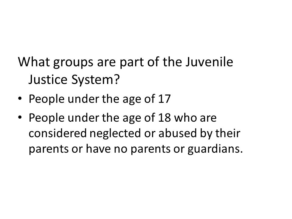 What groups are part of the Juvenile Justice System