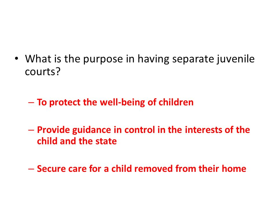 What is the purpose in having separate juvenile courts