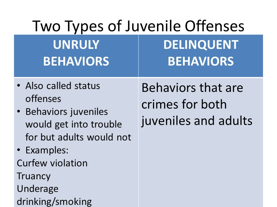 Two Types of Juvenile Offenses