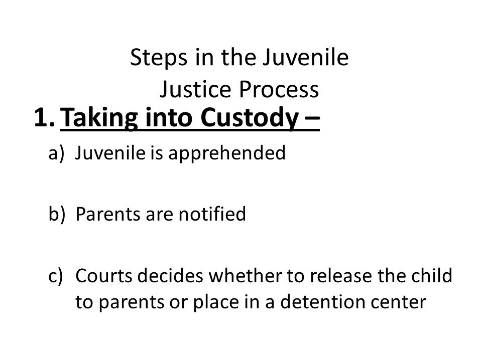 Steps in the Juvenile Justice Process