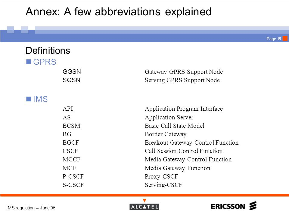 Annex: A few abbreviations explained