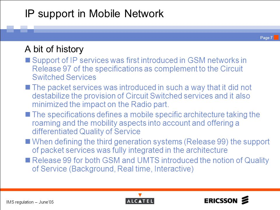 IP support in Mobile Network