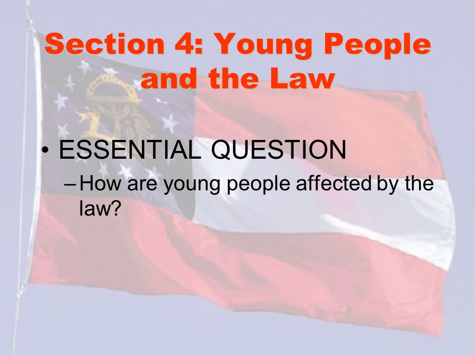 Section 4: Young People and the Law