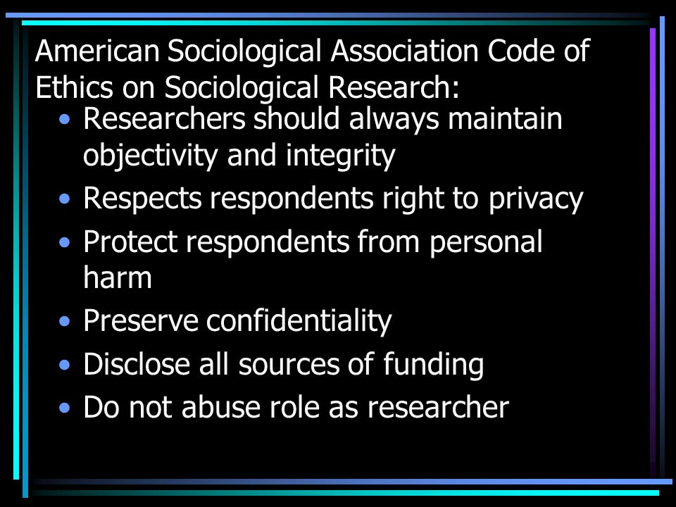 American Sociological Association Code of Ethics on Sociological Research: