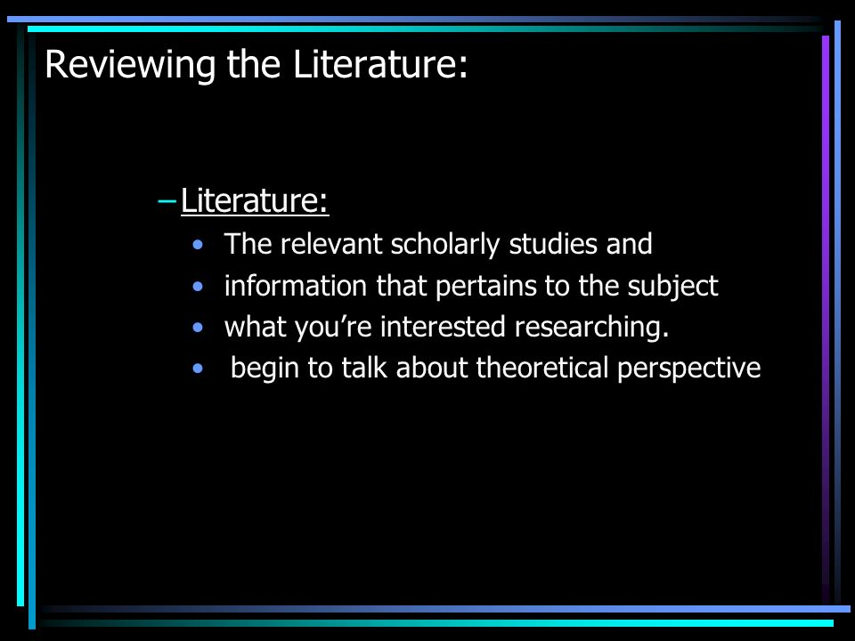 Reviewing the Literature: