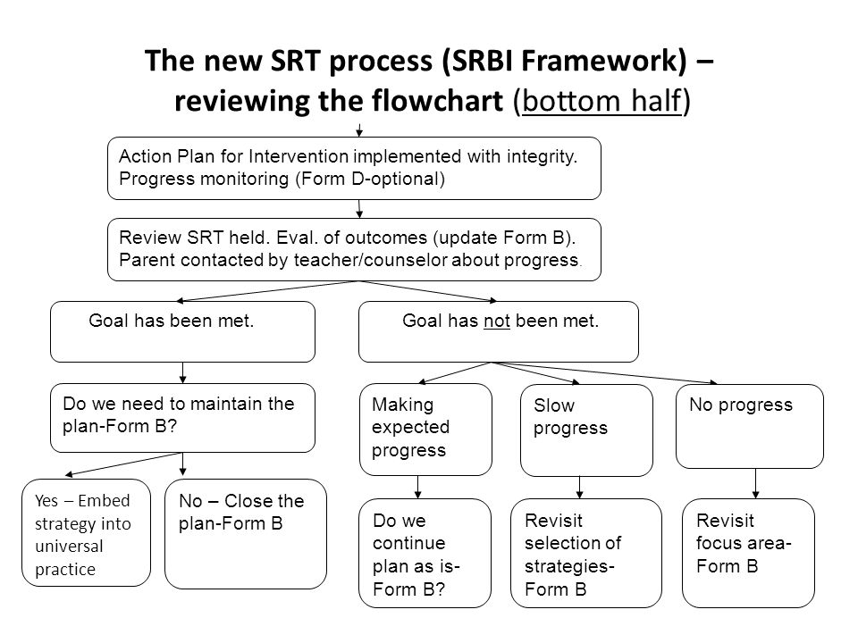 The new SRT process (SRBI Framework) – reviewing the flowchart (bottom half)