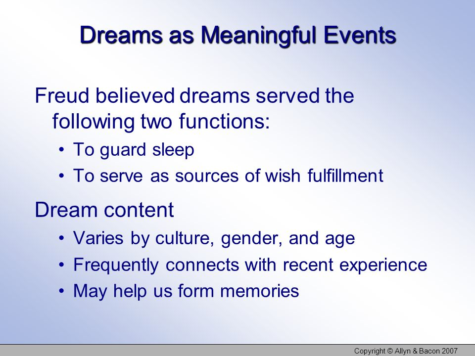 Dreams as Meaningful Events
