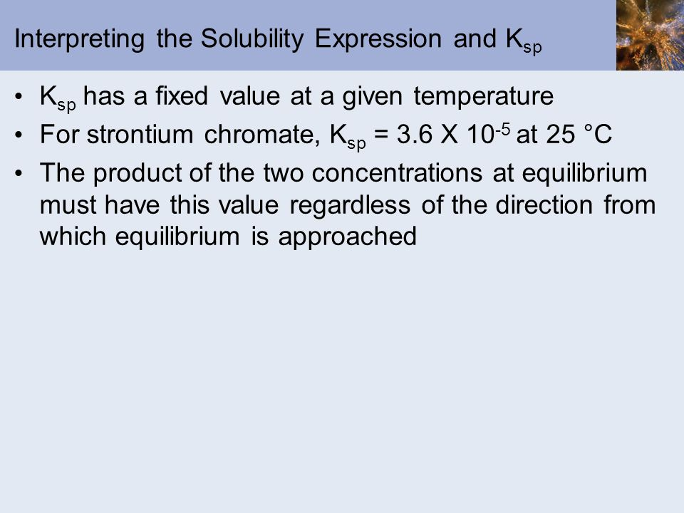 Interpreting the Solubility Expression and Ksp