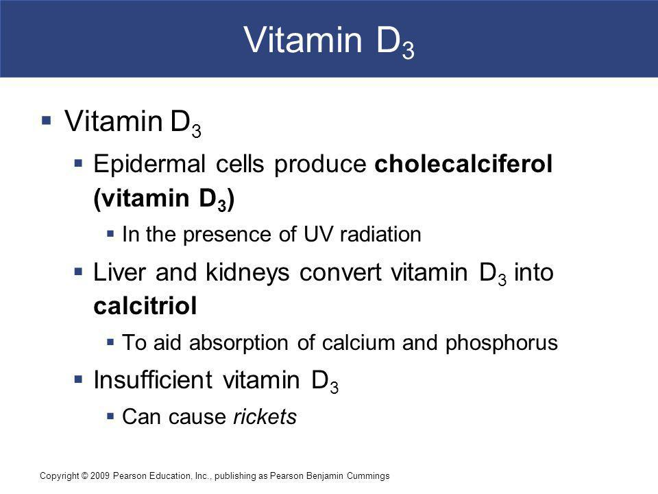 Vitamin D3 Vitamin D3. Epidermal cells produce cholecalciferol (vitamin D3) In the presence of UV radiation.