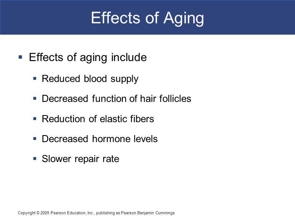 Effects of Aging Effects of aging include Reduced blood supply