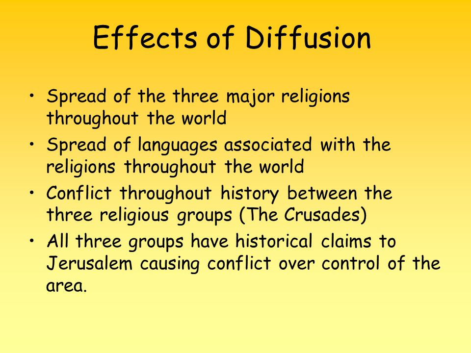 Effects of Diffusion Spread of the three major religions throughout the world.