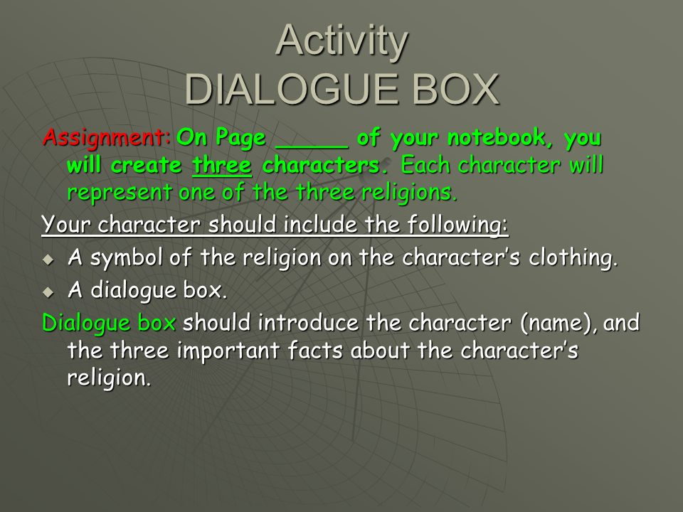 Activity DIALOGUE BOX