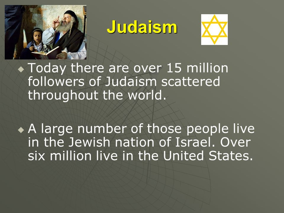 Judaism Today there are over 15 million followers of Judaism scattered throughout the world.