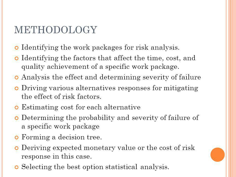 METHODOLOGY Identifying the work packages for risk analysis.