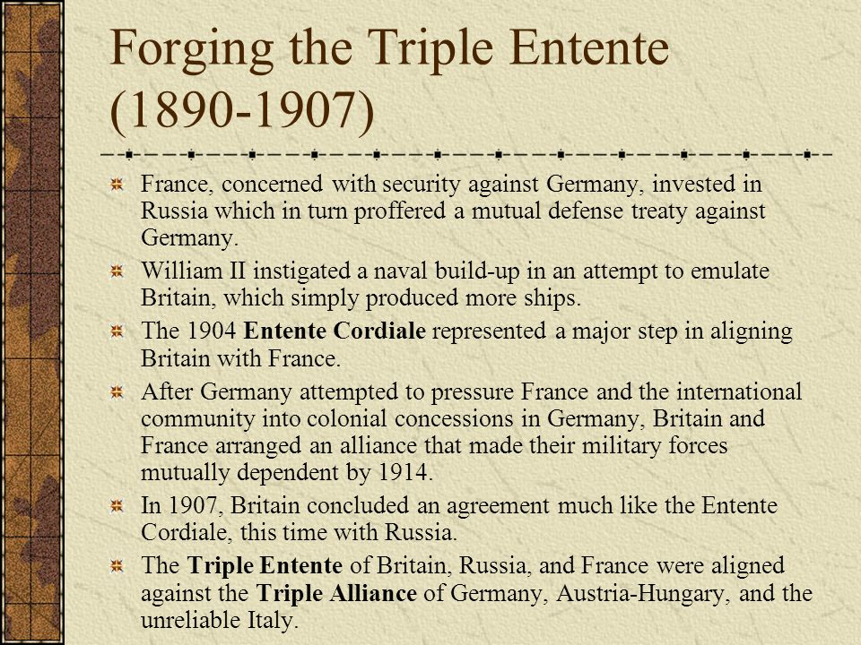 Forging the Triple Entente (1890-1907)