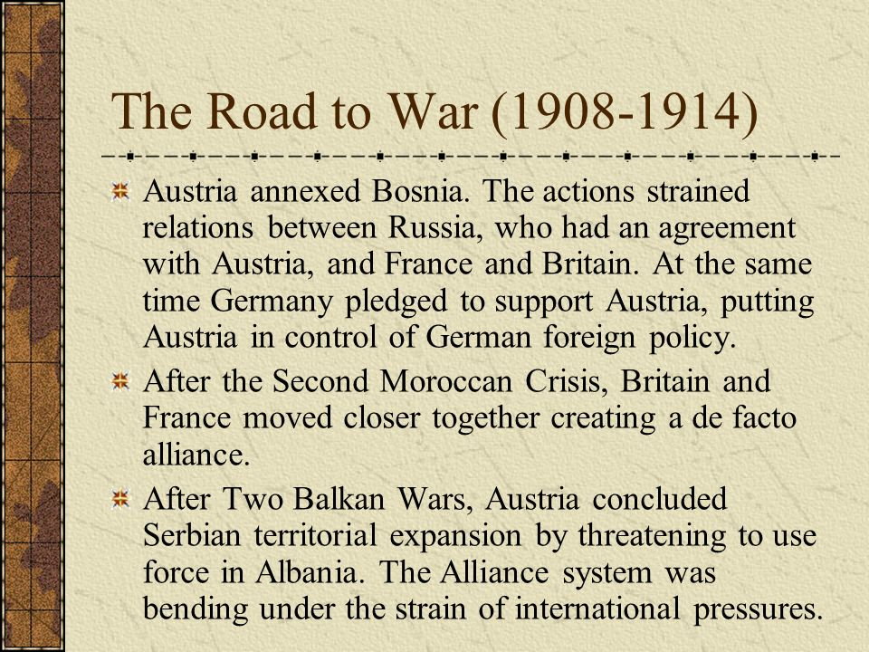The Road to War (1908-1914)