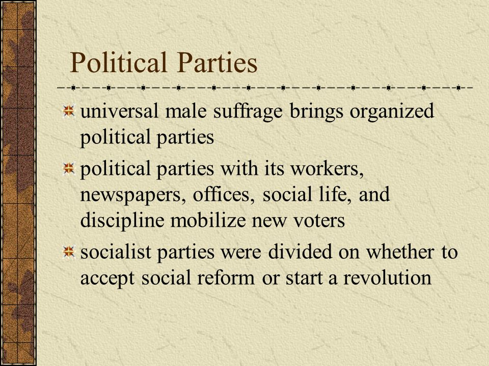Political Parties universal male suffrage brings organized political parties.