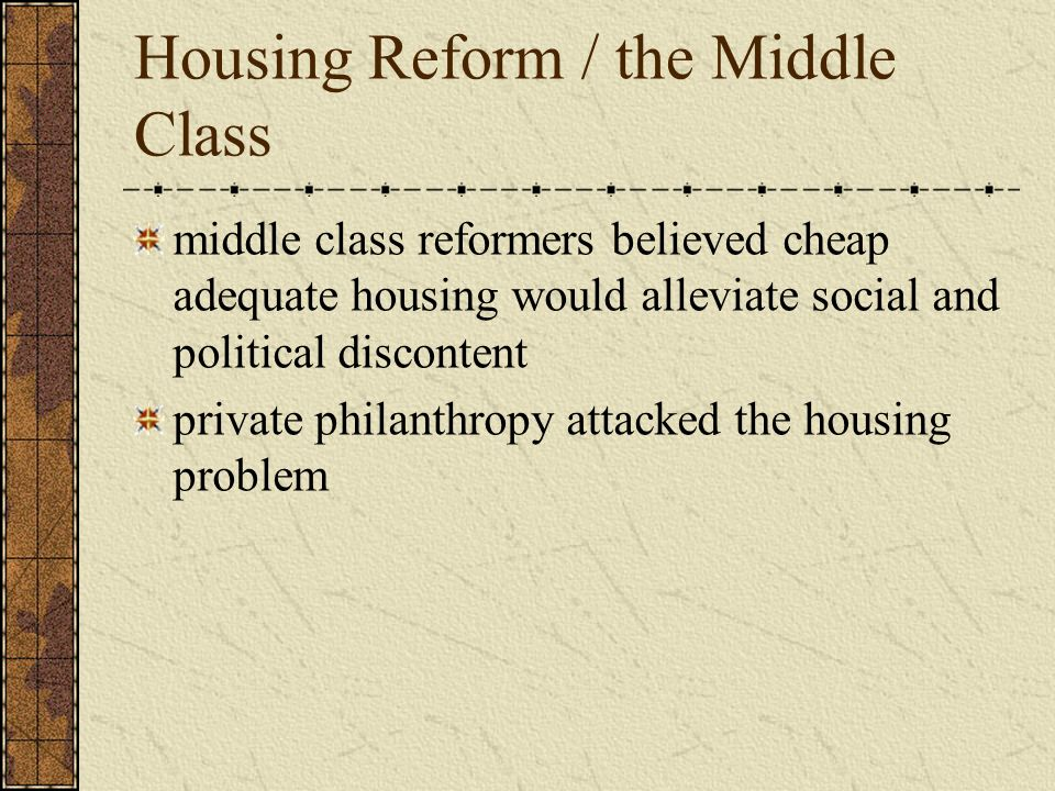Housing Reform / the Middle Class