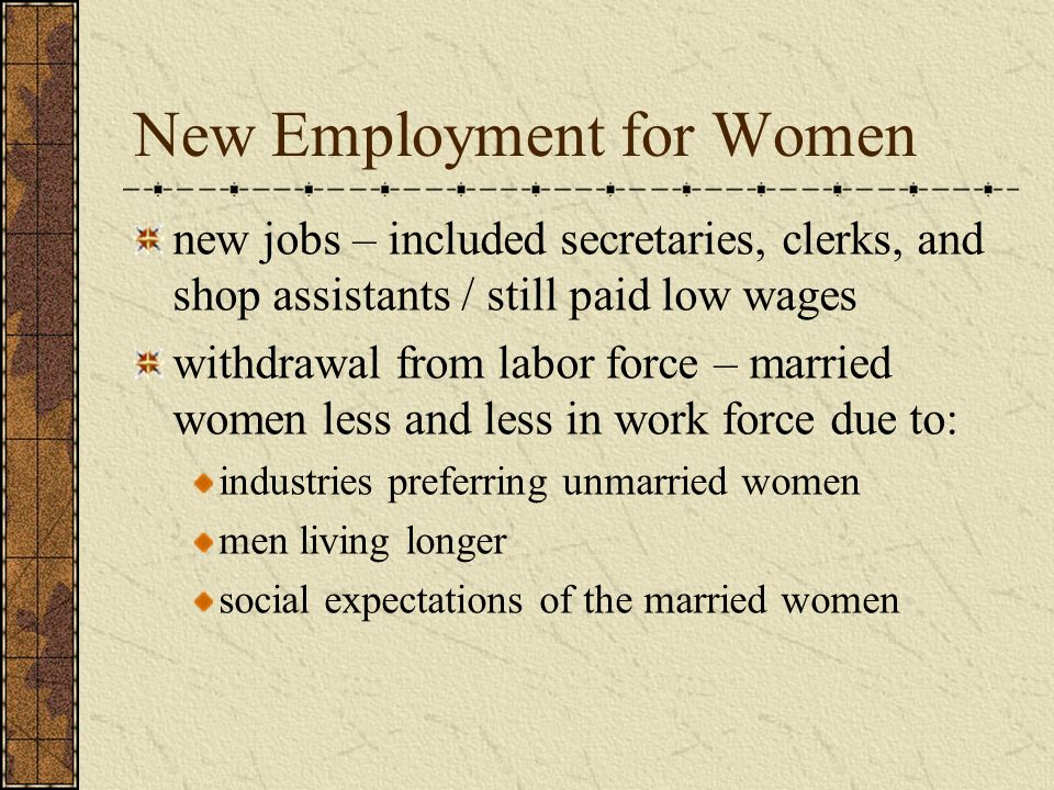 New Employment for Women