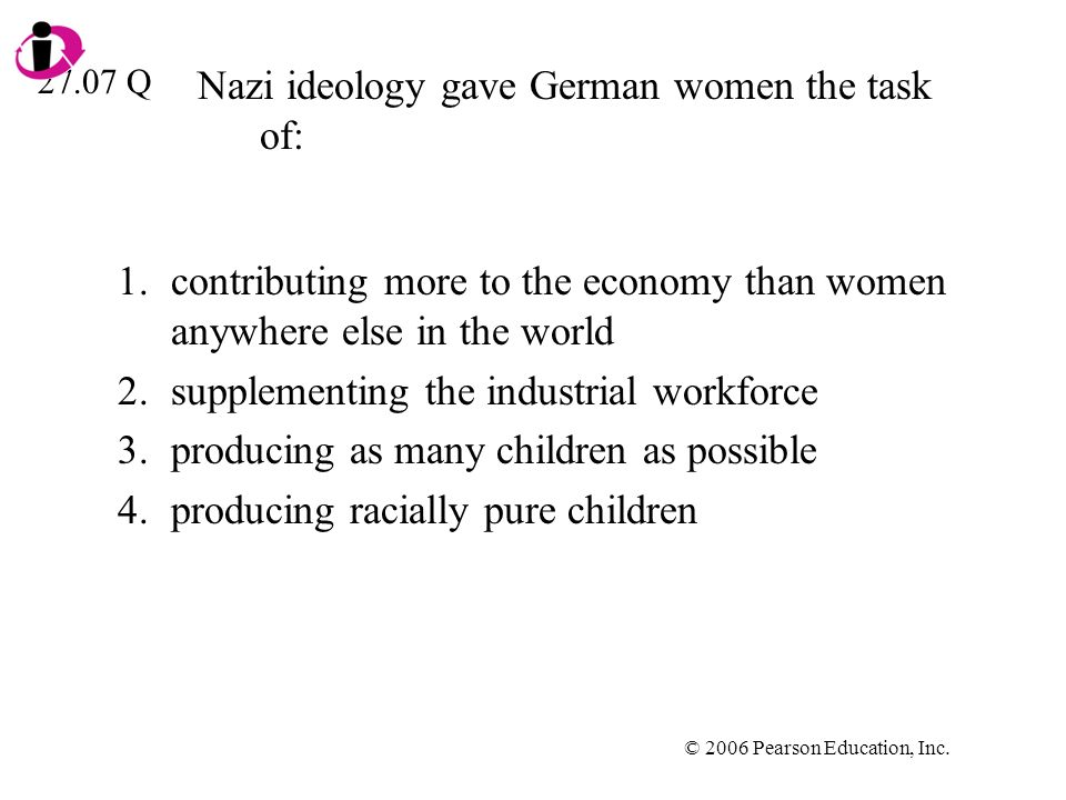 Nazi ideology gave German women the task of: