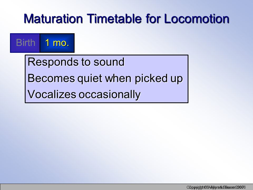 Maturation Timetable for Locomotion