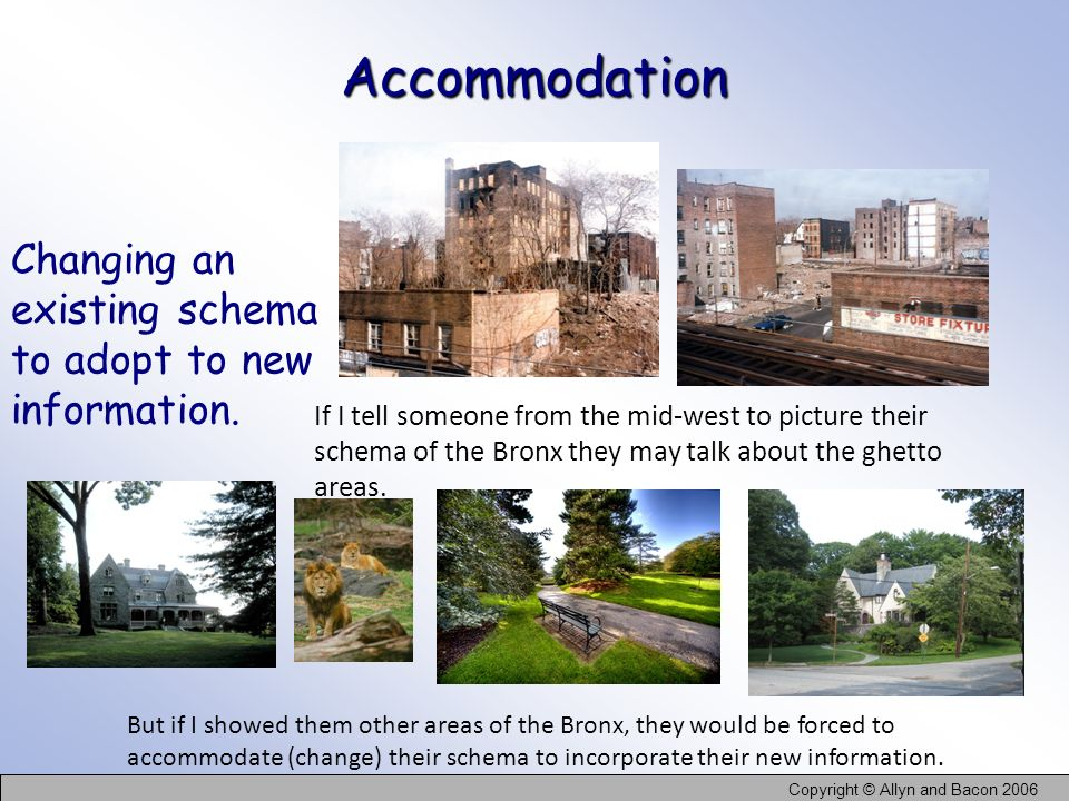 Accommodation Changing an existing schema to adopt to new information.