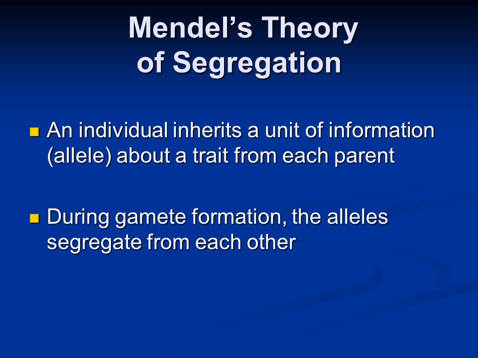 Mendel's Theory of Segregation