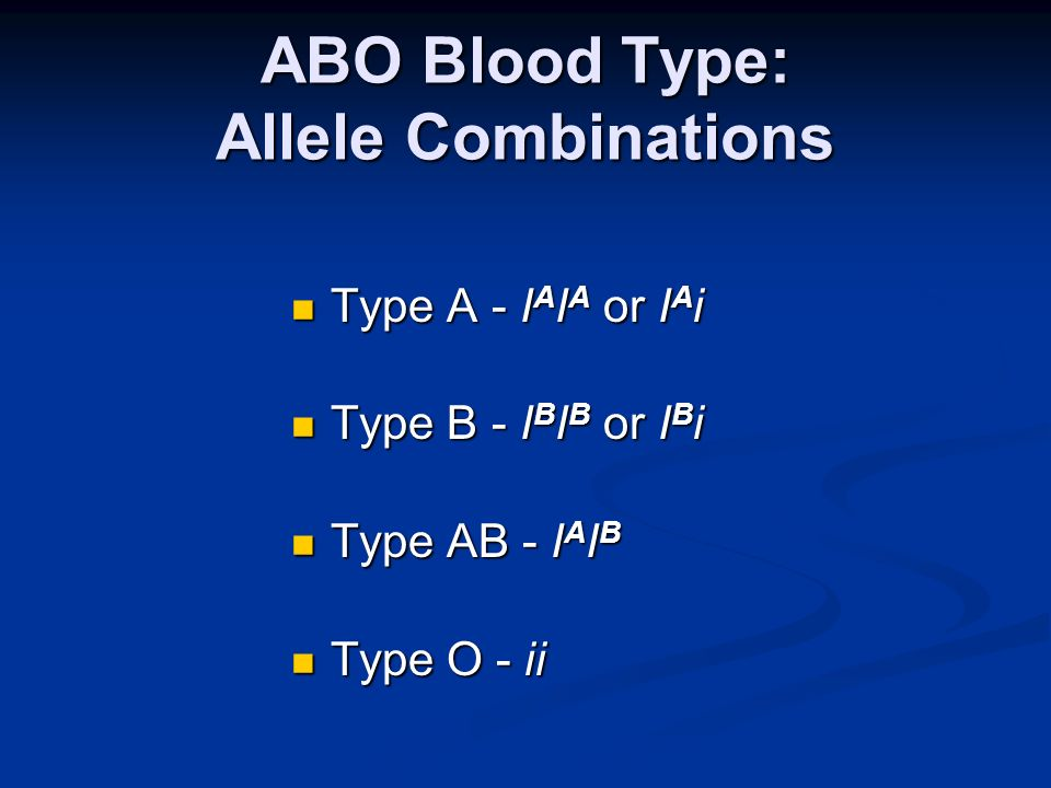 ABO Blood Type: Allele Combinations