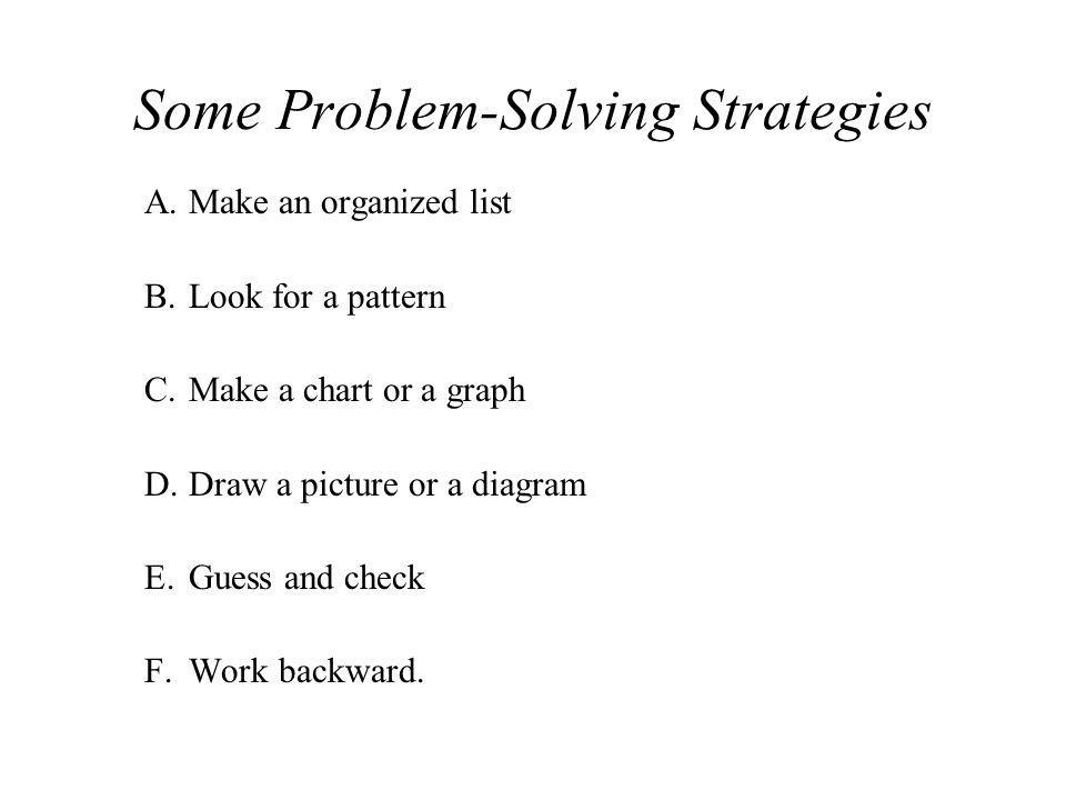 Some Problem-Solving Strategies