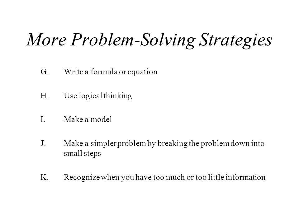 More Problem-Solving Strategies