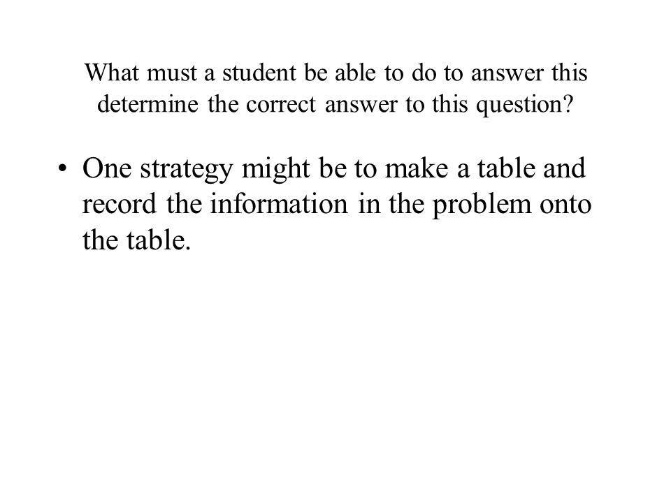 What must a student be able to do to answer this determine the correct answer to this question