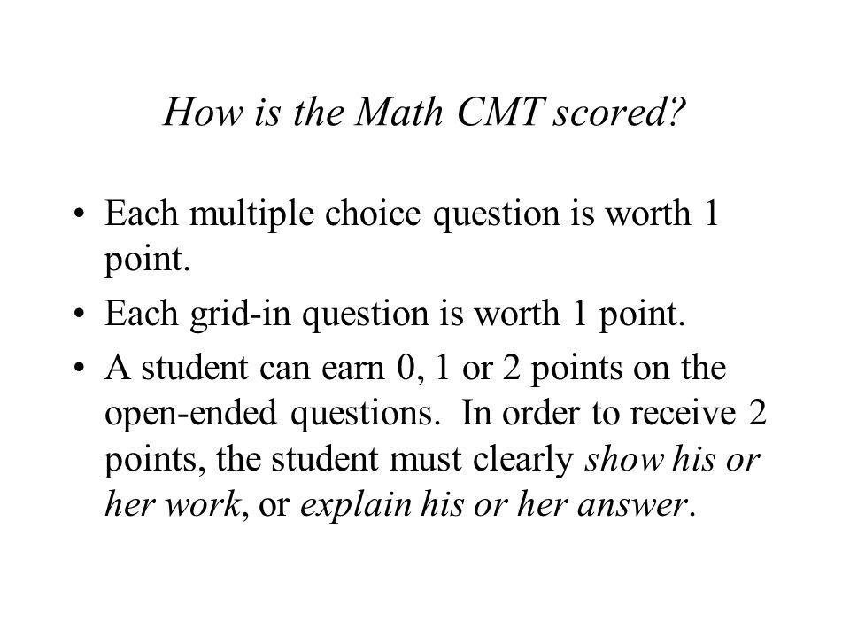 How is the Math CMT scored