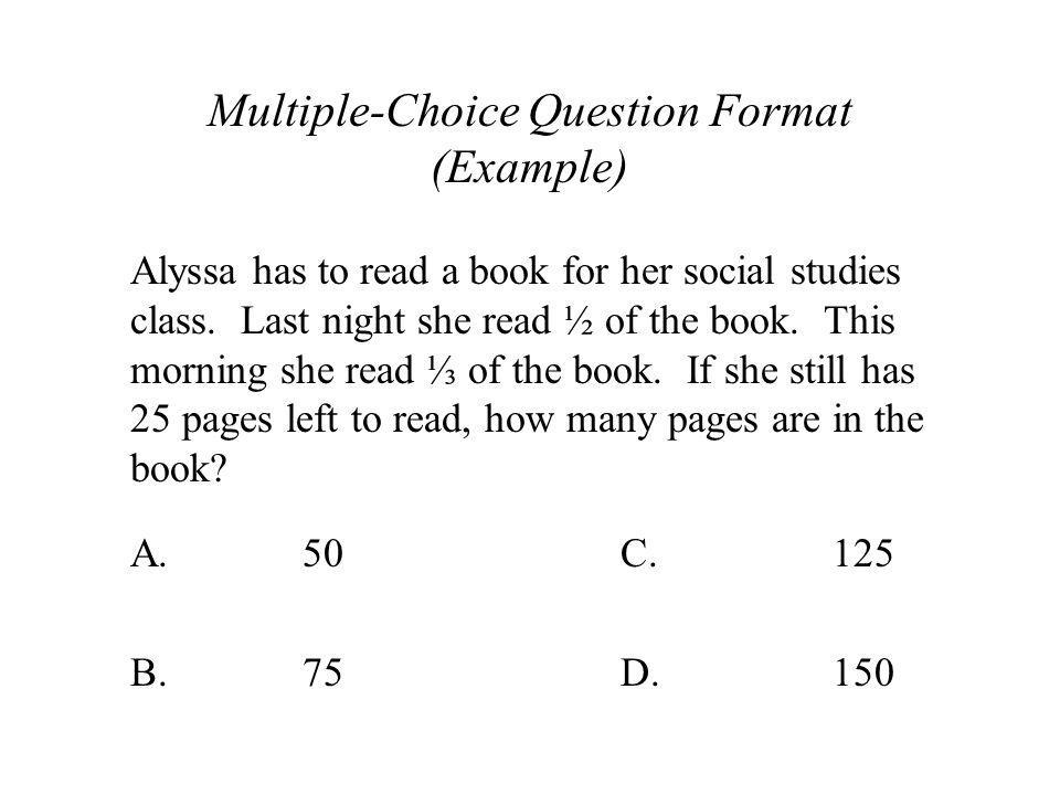 Multiple-Choice Question Format (Example)