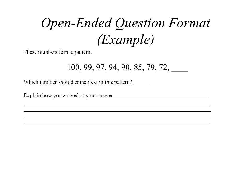Open-Ended Question Format (Example)