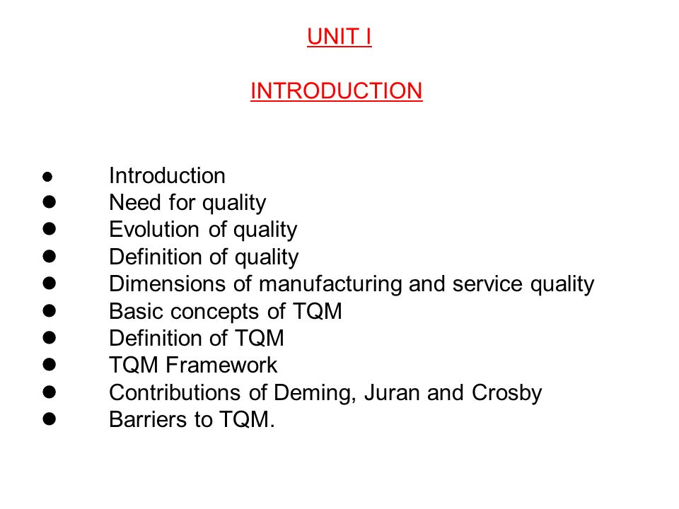 total quality management definition essay Definition: is the process of implementing quality management standards and principles to those manufacturing processes and procedures that directly affect the quality of the environment the tqem system is created to support the constant improvement of a company's environmental performance.