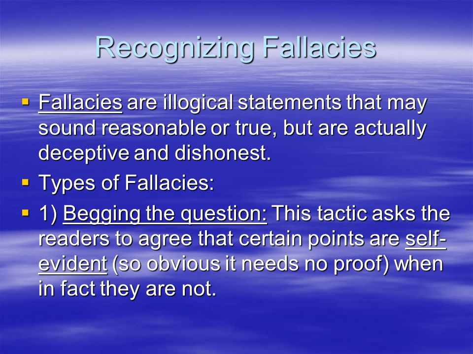 Recognizing Fallacies