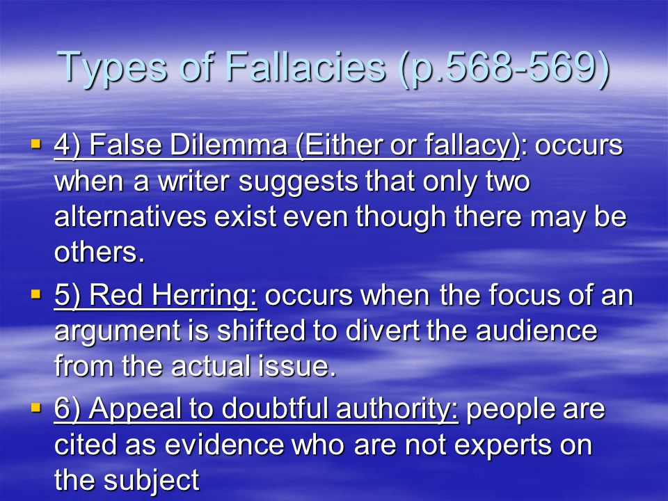 Types of Fallacies (p.568-569)