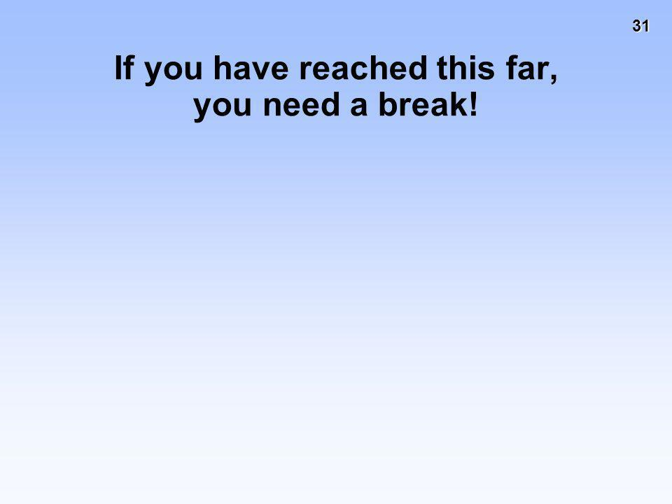 If you have reached this far, you need a break!