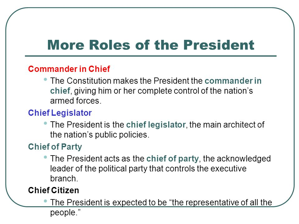 More Roles of the President