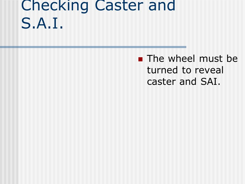 Checking Caster and S.A.I.